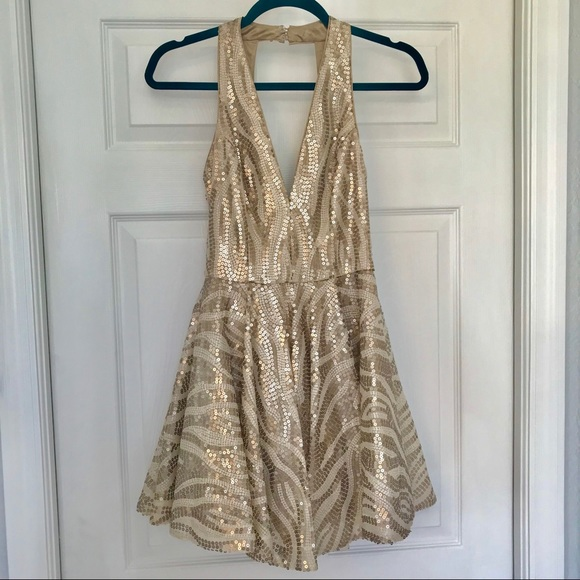 bebe Dresses & Skirts - Bebe sequined fit & flare dress NWT